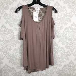 Amelia James Brown Taupe Lace Top Cold Shoulder